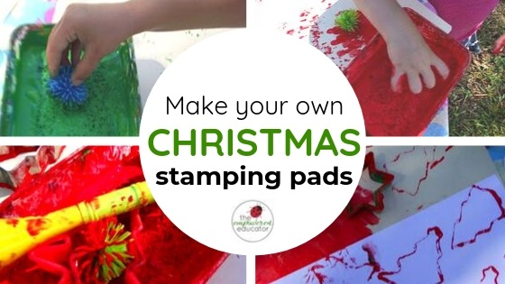 make your own christmas stamping pads for toddlers feature image