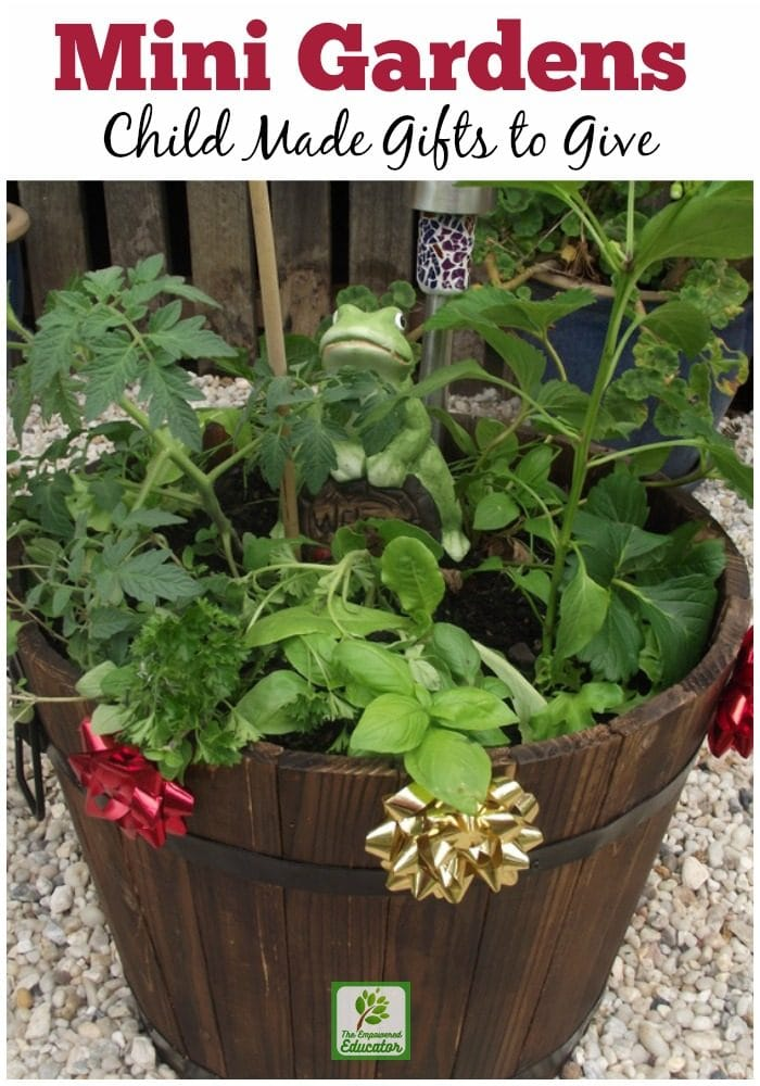 Children will love getting out in the garden with you to create this easy and budget friendly mini gift garden for parents and grandparents this Christmas!