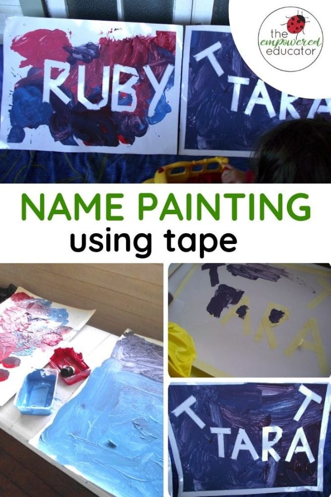 name painting using tape