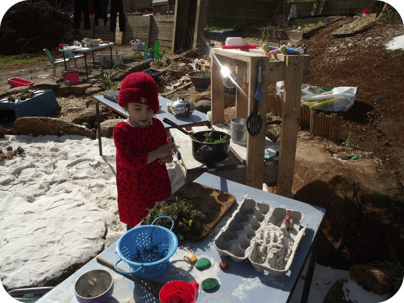 Pallet Sand Kitchen loose parts cooking - Natural Playspaces by Mummy Musings and Mayhem