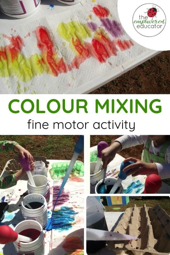 Colour mixing fine motor activity pinterest