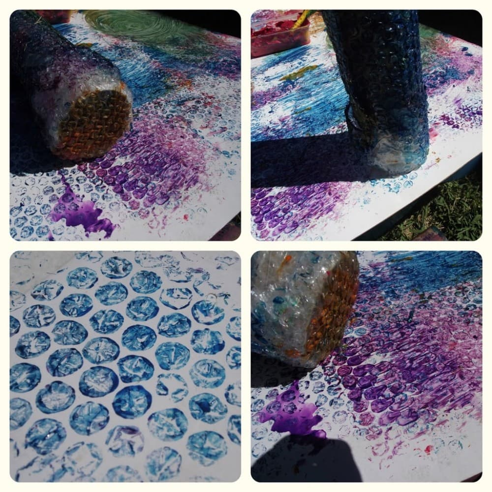 DIY Sensory Bubblewrap Roller Painting - Tips to modify for SPD children included