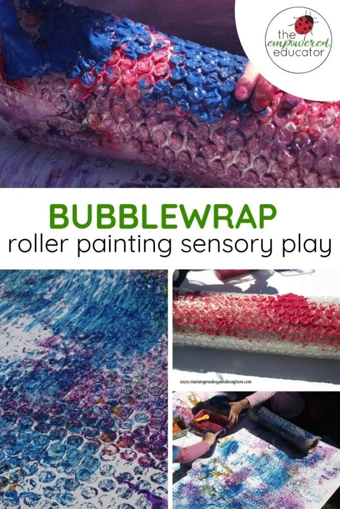 bubblewrap roller painting sensory play pinterest