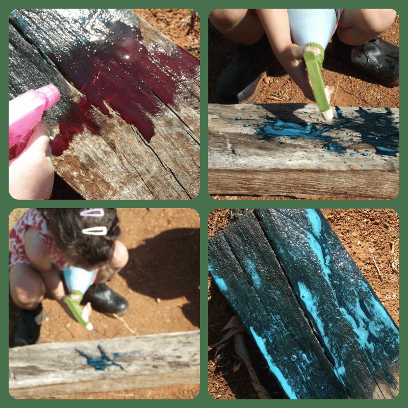Spray Bottle painting on wood...Exploring creativity outdoors - Mummy Musings and Mayhem