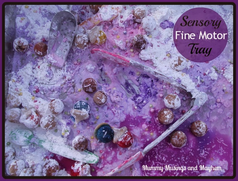 Edible Sensory Fine Motor Tray - Mummy Musings and Mayhem