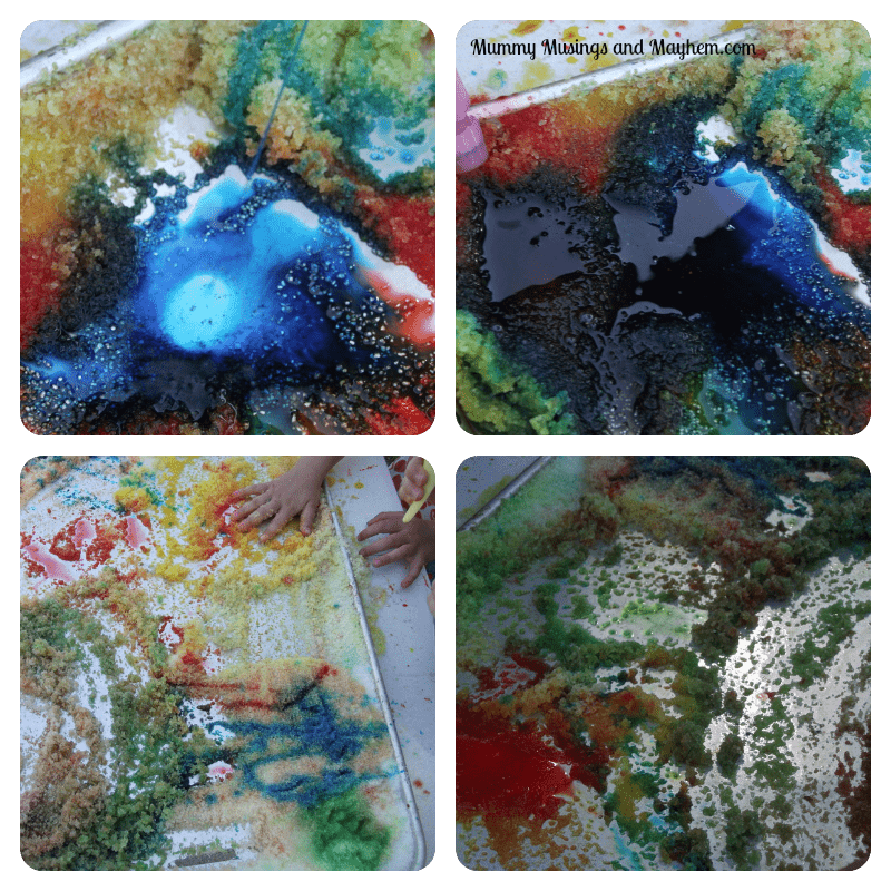 Sensory Squirty Salt Tray Fun...Colour mixing and sensory play for all ages via Mummy Musings and Mayhem