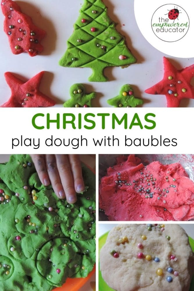 Christmas playdough with baubles pinterest