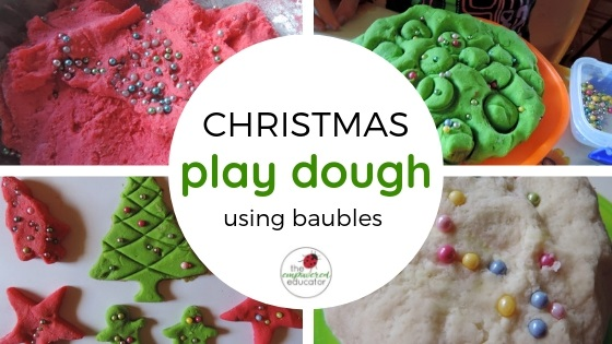 christmas playdough with baubles feature image
