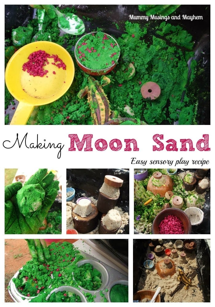 Follow this easy recipe to save money and make your own moon sand for sensory play!