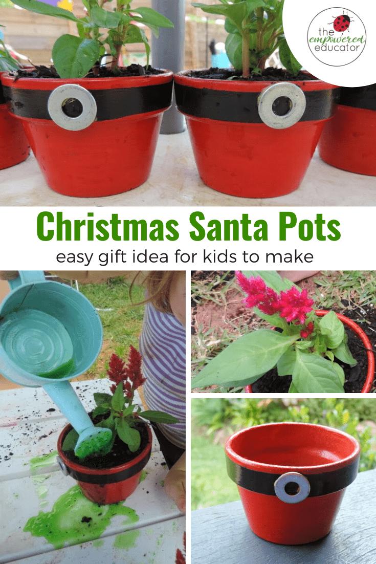 christmas santa pots easy kid made gift idea