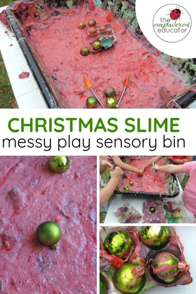 christmas sensory slime messy play sensory bin