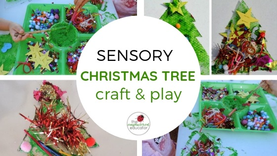sensory christmas tree craft and sensory play for toddlers and preschoolers