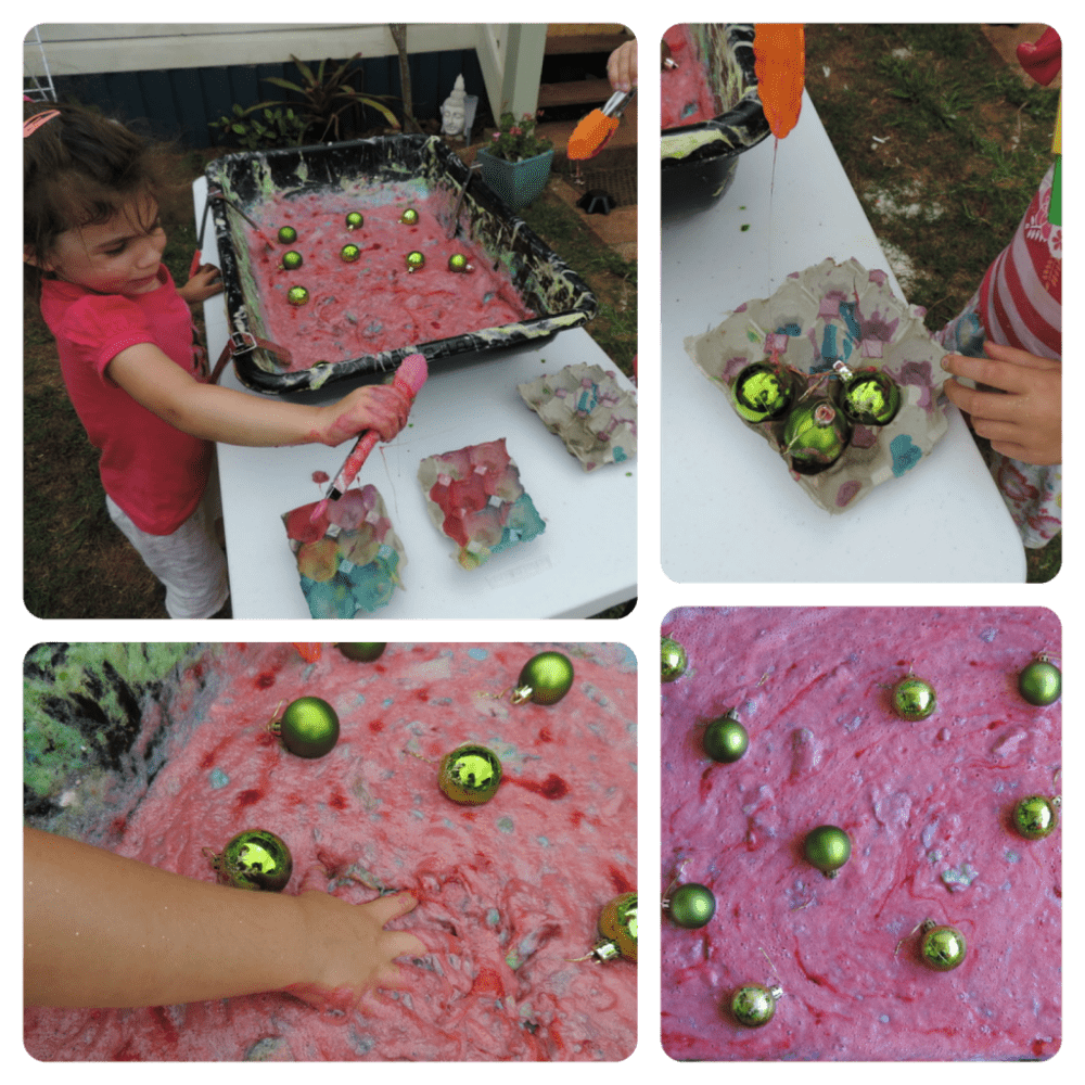Fine motor and sensory fun with Christmas slime and baubles - an easy activity to set up for babies, toddlers and preschoolers! Make your own with this recipe!