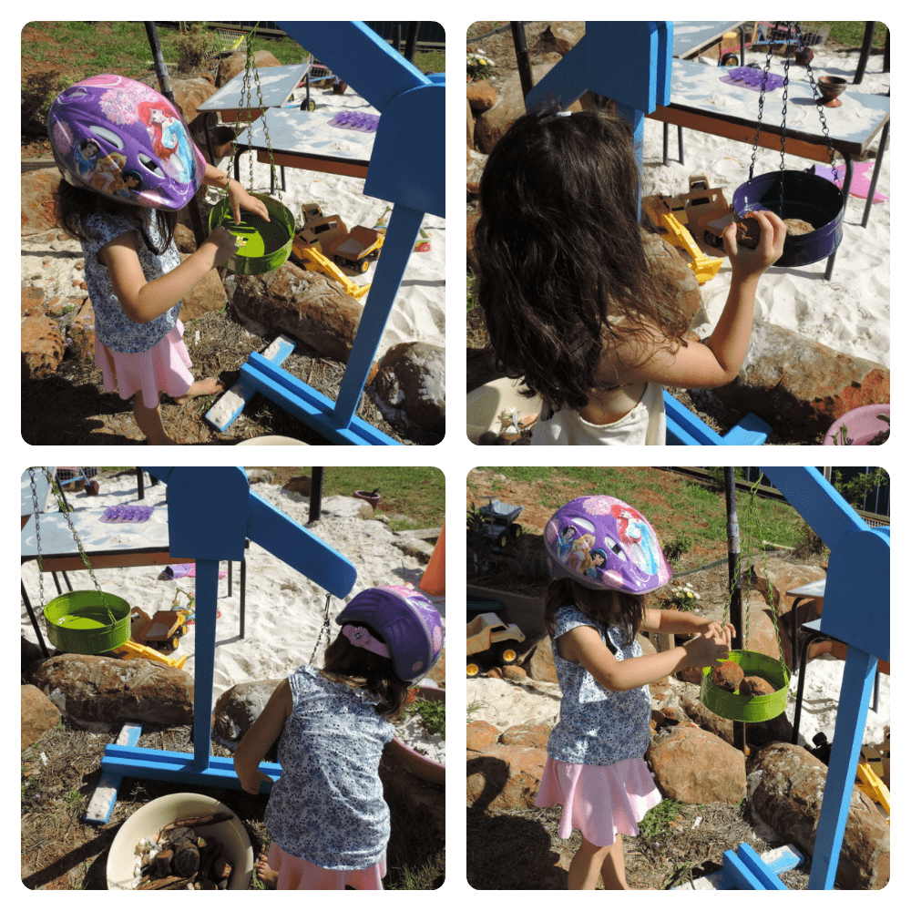 Building and using wooden scales in an outdoor playspace - Mummy Musings and Mayhem