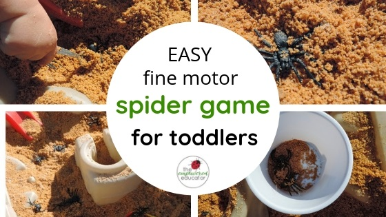 easy fine motor spider game for toddlers and preschoolers - halloween sensory fun