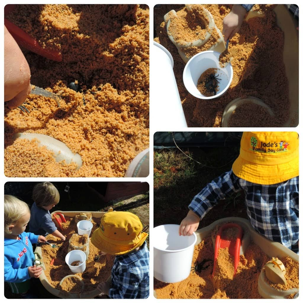Easy fine motor fun for toddlers with spiders and sand - see how to play at Mummy Musings and Mayhem.com