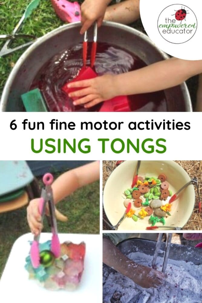 6 Fun fine motor activities using tongs