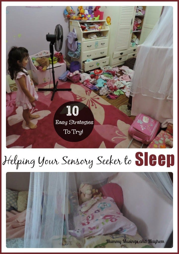 Tips and strategies for helping children with sensory processing difficulties (SPD) get to sleep at night. Find out more at Mummy Musings and Mayhem