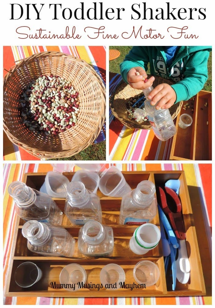 Toddler Fine motor fun making their own musical shakers using sustainable materials...read about what they are learning with this activity at Mummy Musings and Mayhem!