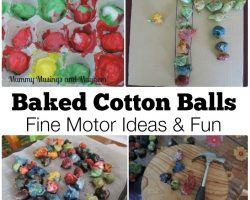 Fun Fine Motor Ideas with Baked Cotton Balls..
