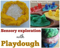Sensory exploration and play based learning with playdough.