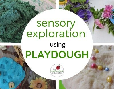 sensory exploration using playdough
