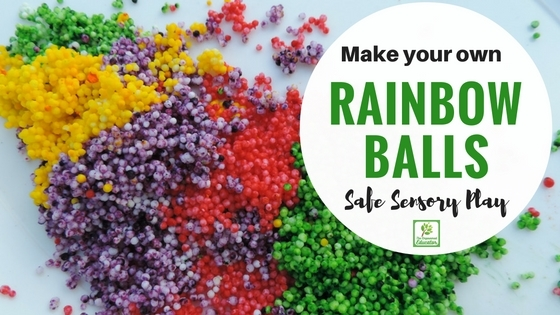 Make your own rainbow sensory balls for play!