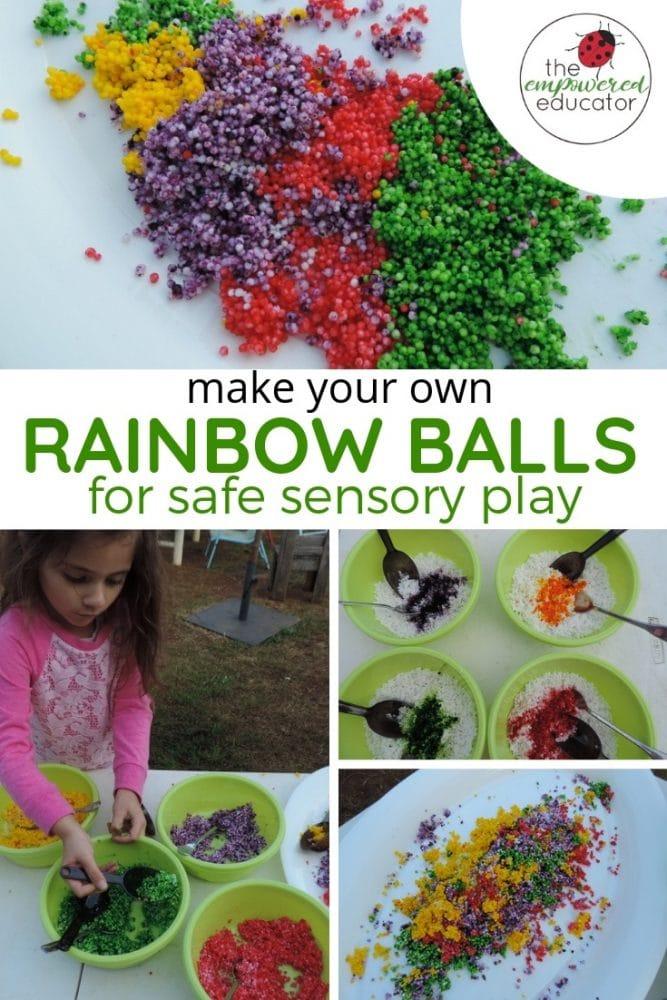 make your own rainbow balls for safe sensory play