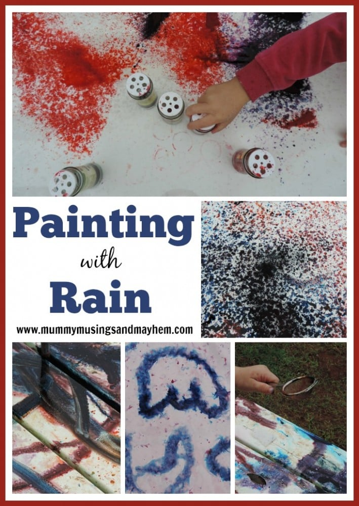 Painting with the Rain - Outdoor Fun and Creativity for Children. See how to do it at Mummy Musings and Mayhem
