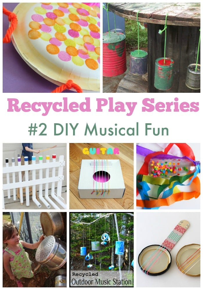 Easy ideas to make music for children with recycled materials. Part of the Mummy Musings and Mayhem Recycled Play Series.