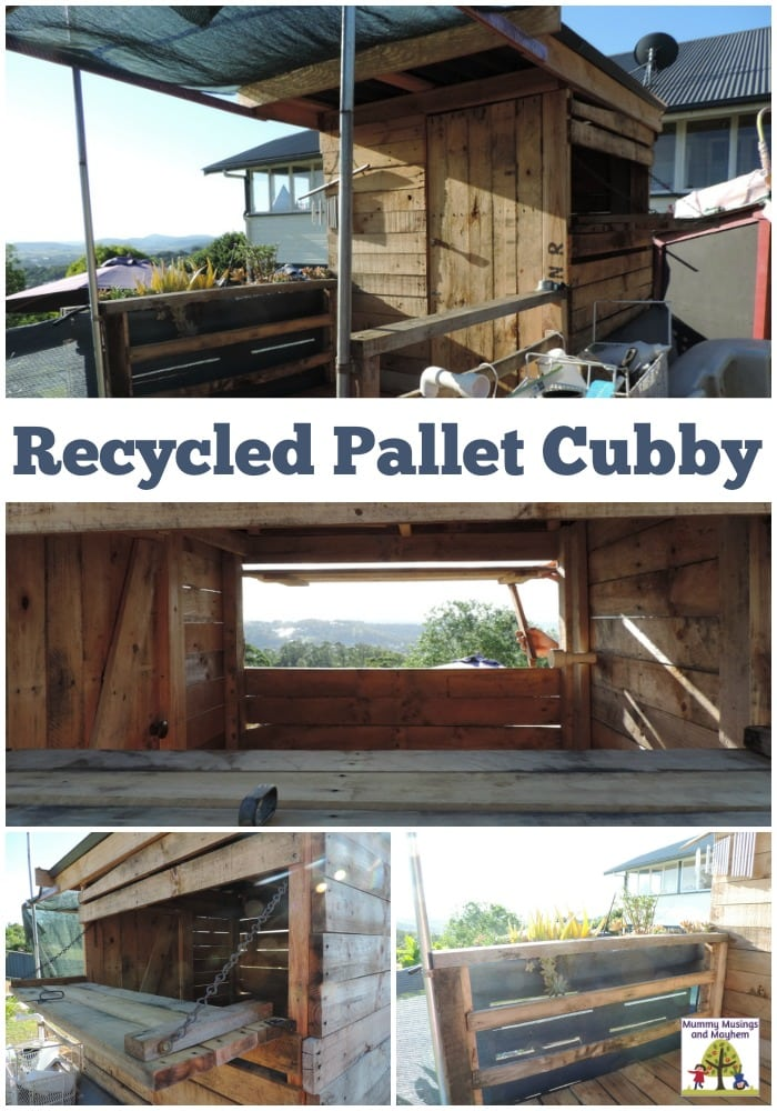 A recycled pallet cubby for outside play in the backyard. A project that cost very little due to the recycled materials used throughout - See how they did it in this post from Mummy Musings and Mayhem