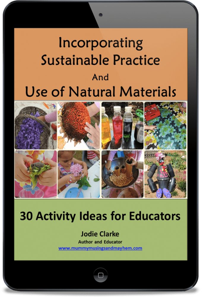 E-book with activity ideas for children incorporating natural and recycled materials available now for parents and teachers.