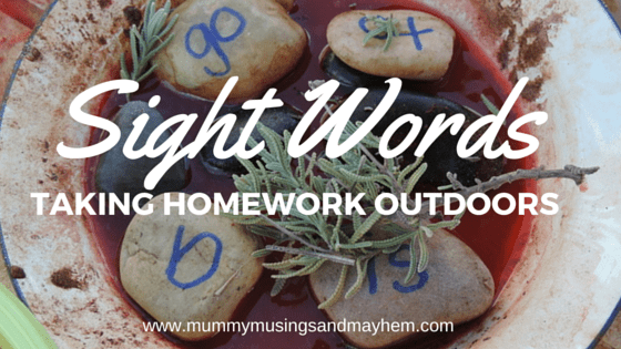 Sight Words homework for children can be boring - incorporate some play based learning and fun by taking homework outside with these easy ideas!