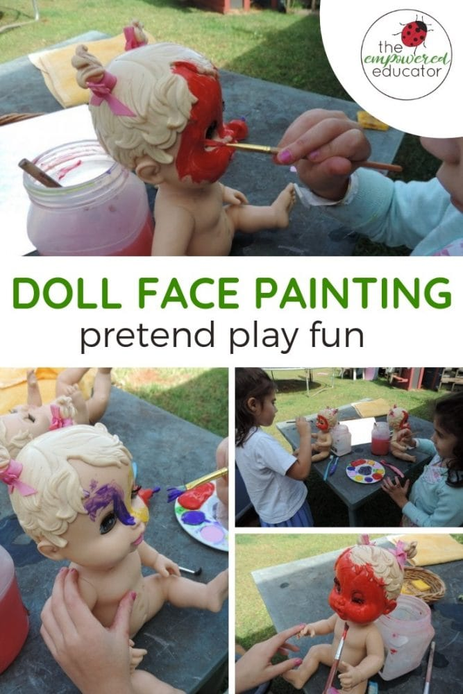 doll face painting pretend play fun