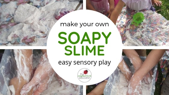 make your own soapy slime for sensory play