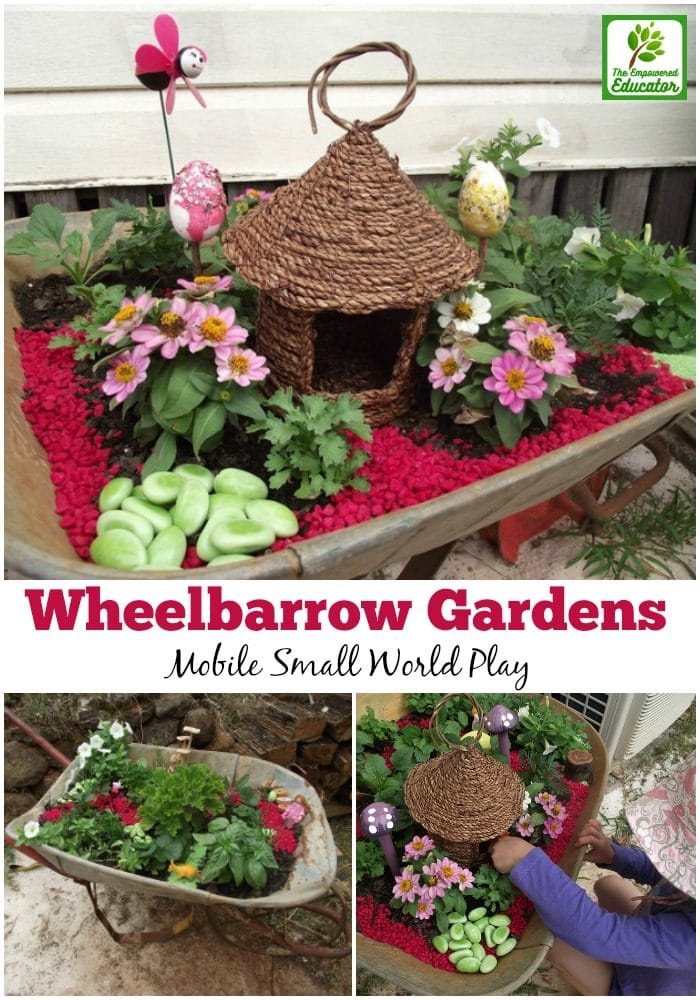How to make wheelbarrow small world gardens for play