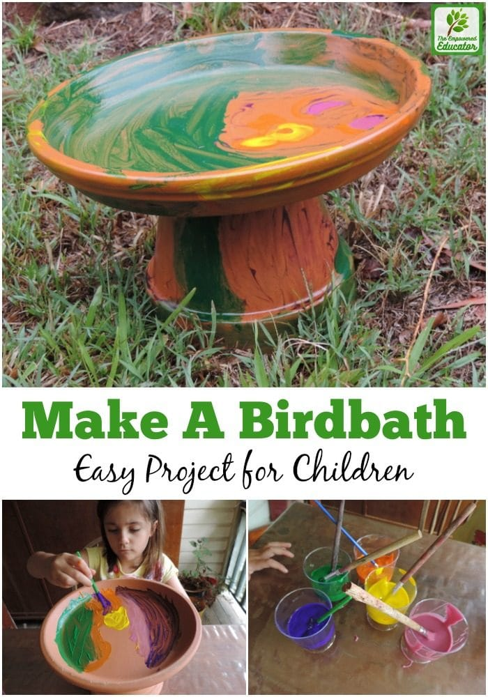 Make your own birdbath easy project for children for Garden maker online