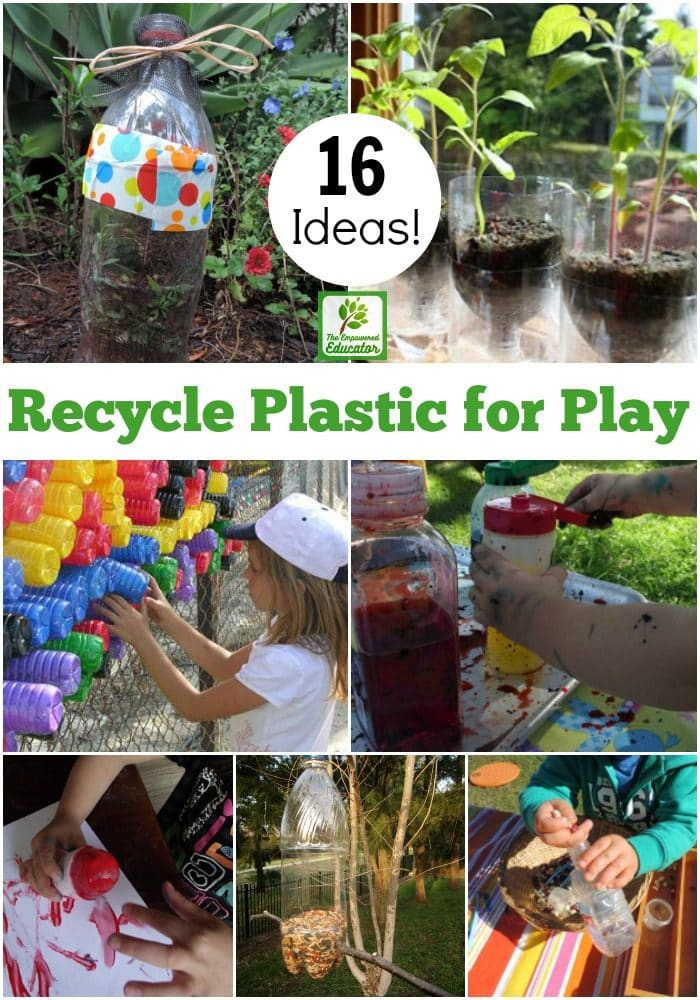 Try these 16 easy ideas to recycle plastic bottles for play and learning. Budget friendly projects perfect for younger children to enjoy with parents and early childhood educators!