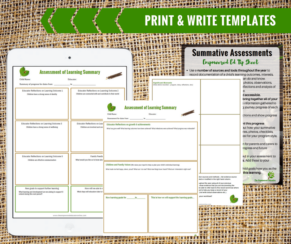 guide to writing early childhood summative assessments