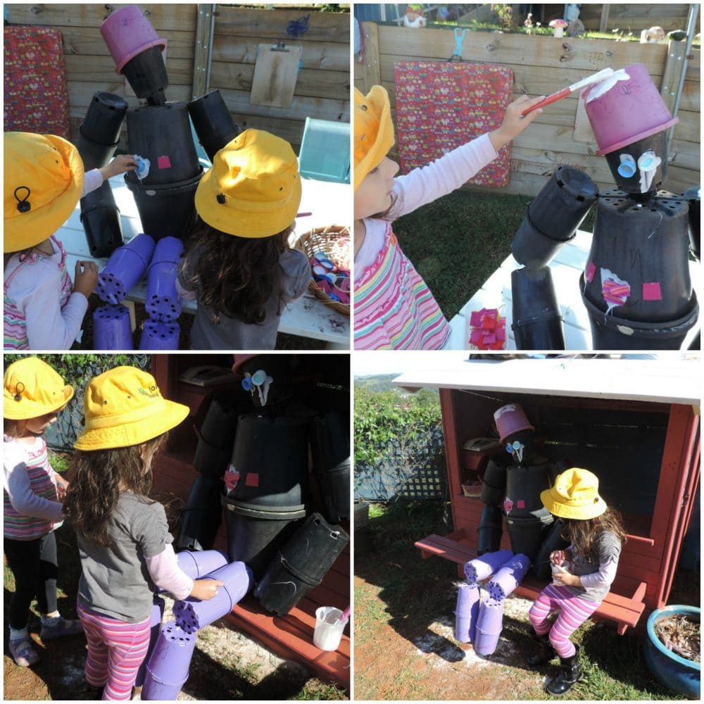 Don't throw out empty plant pots, turn them into a Pot Man Garden Scarecrow. A fun children's recycling project to try for families and early years educators -see how we made it!