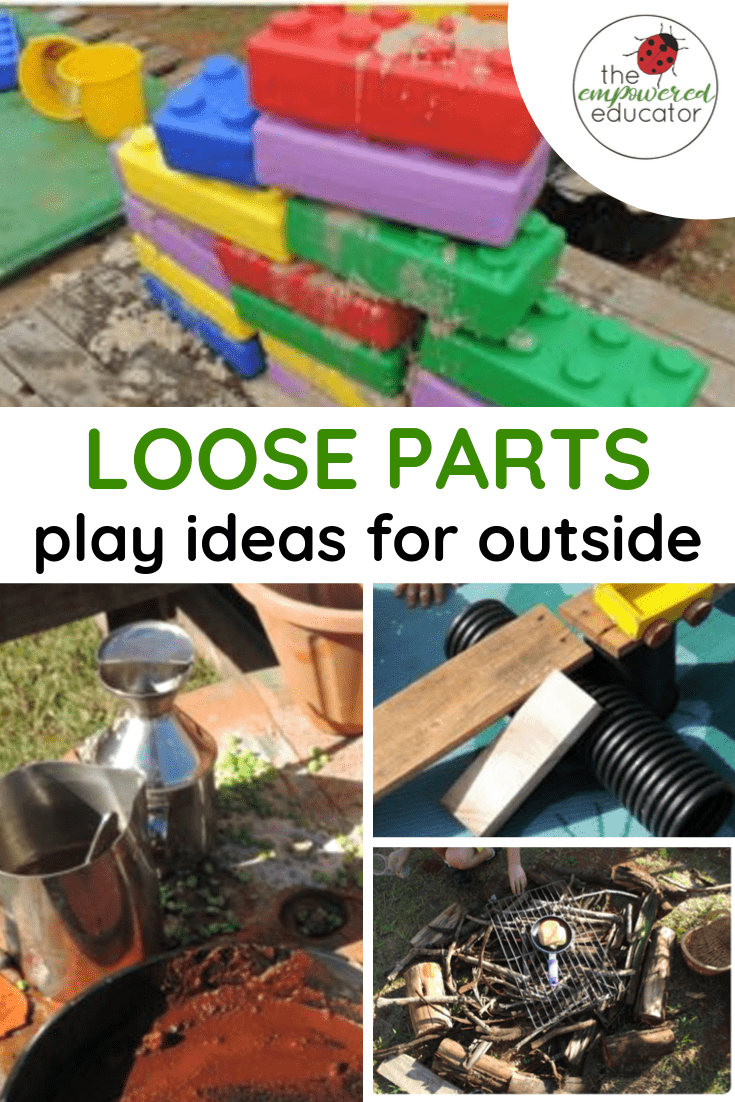 loose parts play ideas for outside early learning pinterest