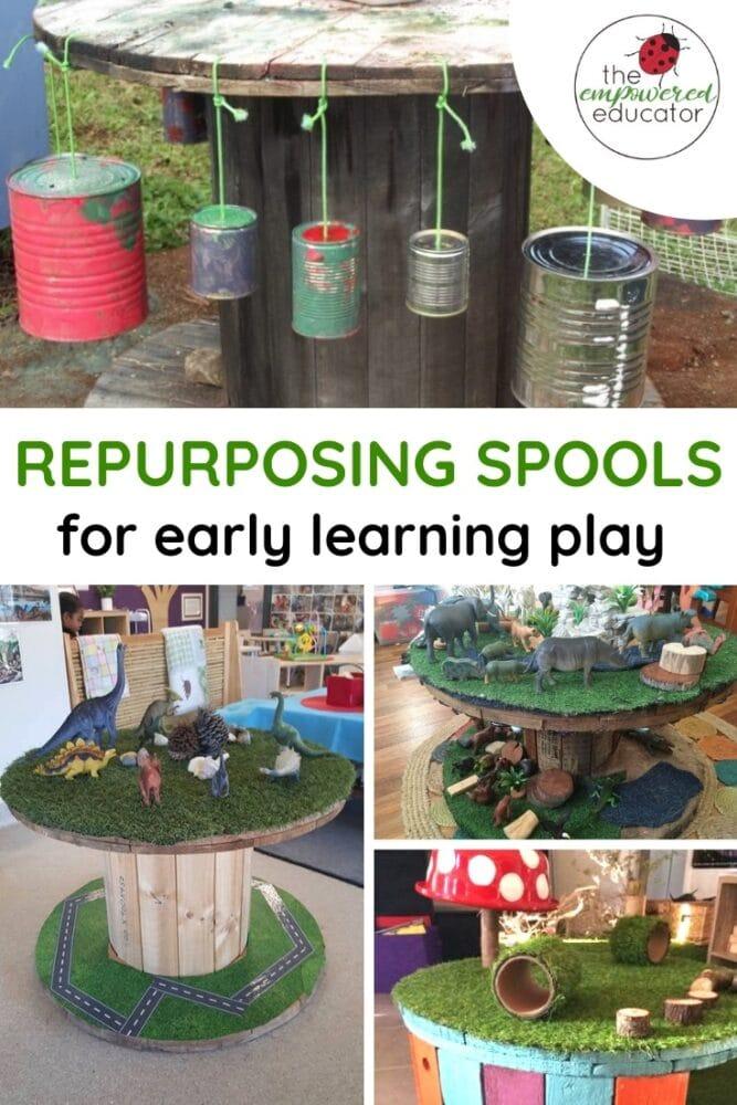 repurposing spools for play pinterest