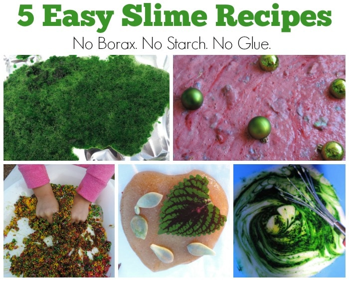 You don't need to source a big list of materials and follow complicated directions to make these non toxic Easy Slime Recipes. Safe to use with baby and toddler - no borax, starch or glue! Bonus E-Book with recipes and play ideas for parents and early childhood educators available to download free!