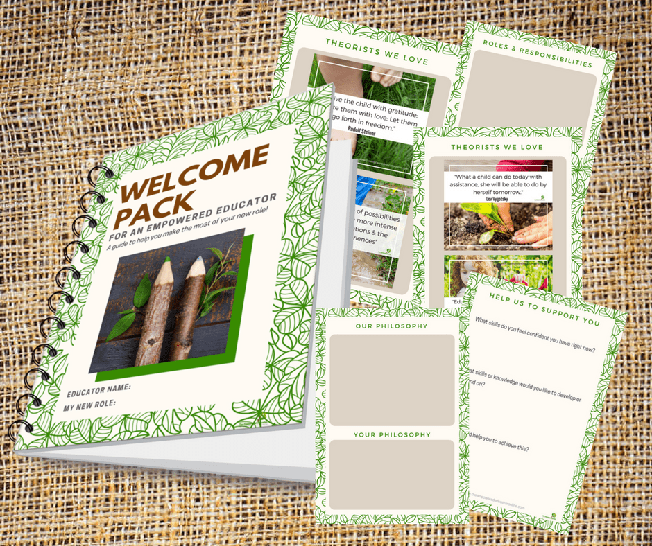 Create a simple educator welcome pack orientation for new team members to help ensure cohesiveness, morale and retention of empowered early childhood professionals. Download the freebie e-guide in this article for ideas to begin compiling your own! Helpful for home daycare, early years educators and educational leaders.