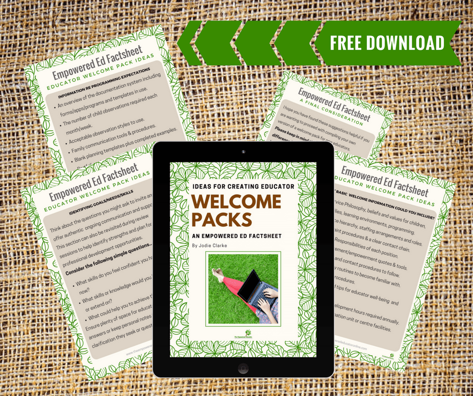 Create a simple educator welcome pack orientation for new team members to help ensure cohesiveness, moraleand retention of empowered early childhood professionals. Download the freebie e-guide in this article for ideas to begin compiling your own! Helpful for home daycare, early years educators and educational leaders.