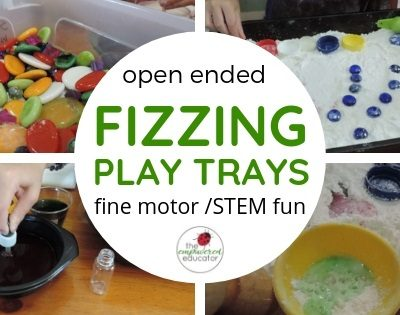 open ended fizzing trays for fine motor sensory play