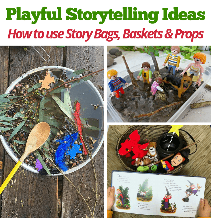 Find out how to make storytelling a more playful and interactive experience for children by setting up and using a story bag, basket or prop box . Lots of ideas for EYLF, early childhood educators, teachers and homeschool here!!