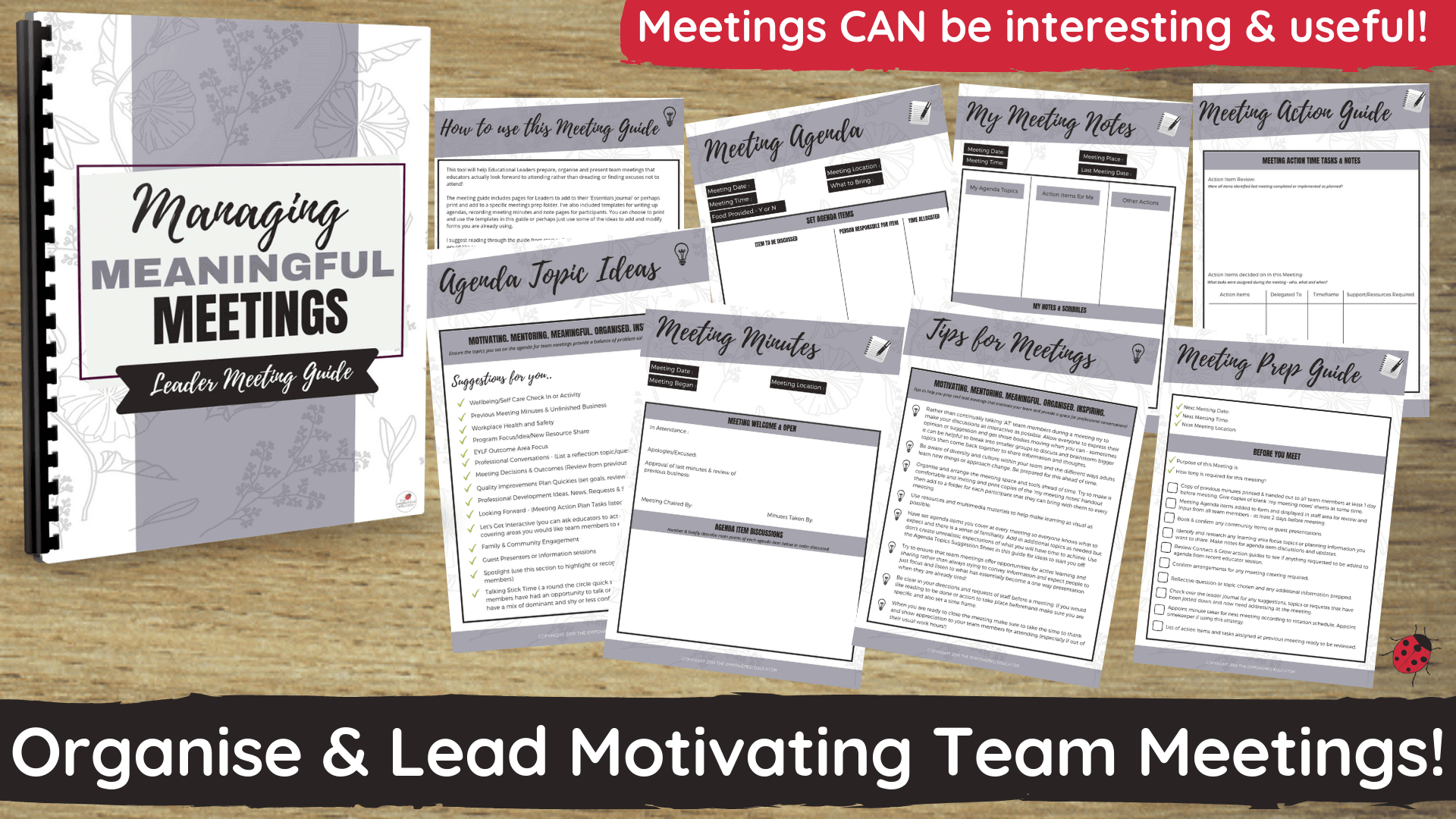 Educational leaders - use this guide to help you organise, prep and present meaningful and engaging team meetings that educators will want to attend!