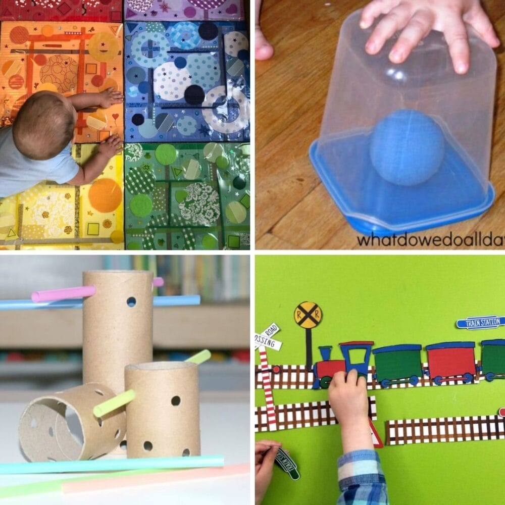 This collection of easy DIY toys for babies and toddlers will have you inspired as a parent or early years educator to save money & make your own!