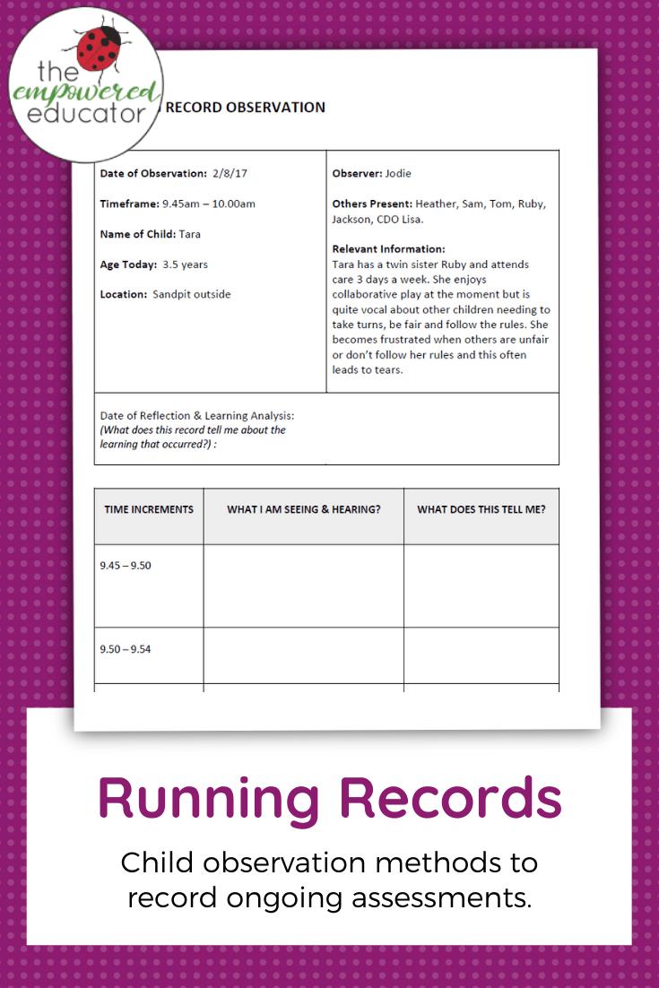 running record observation - sample